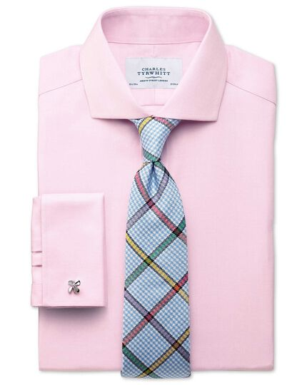 Extra slim fit spread collar non-iron herringbone light pink shirt