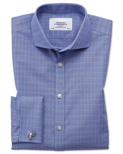 Bügelfreies Extra Slim Fit Hemd mit Haifischkragen in Blau mit Prince-of-Wales-Karos