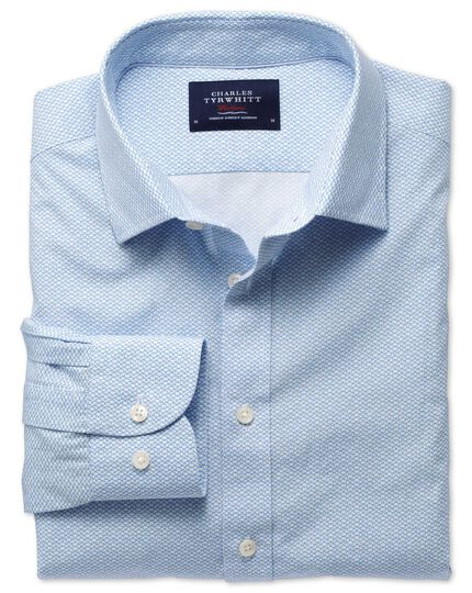 Classic fit white and sky blue print shirt