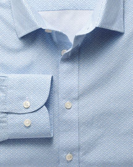 Extra slim fit white and sky blue print shirt