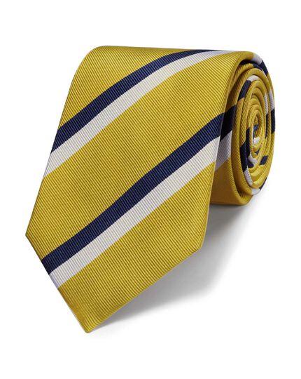 Yellow silk classic stripe tie