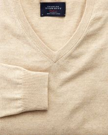 Stone cotton cashmere v-neck jumper