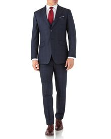 Slim Fit Business Anzug aus Flanell in Blau mit Prince-of-Wales-Karos