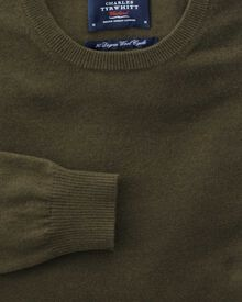 Forest green cotton cashmere crew neck jumper