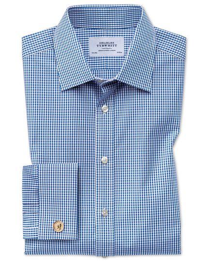 Extra Slim Fit Hemd in Marineblau mit kleinen Gingham-Karos