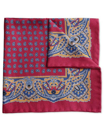 Burgundy printed border classic pocket square