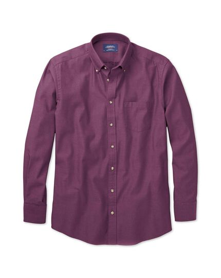Slim fit non-iron twill purple shirt