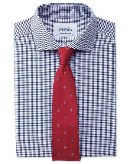 Red and sky silk classic Fleur-de-Lys tie
