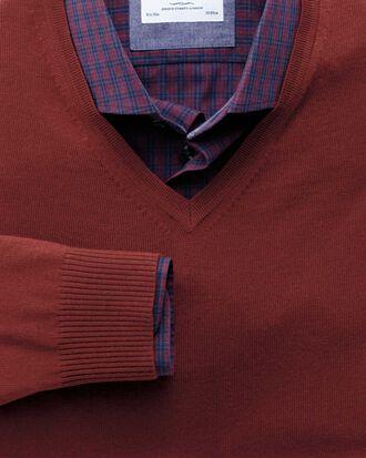 Copper merino v-neck jumper