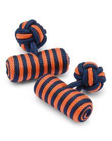 Navy and orange barrel knot cuff links