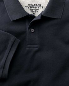 Slim fit navy pique polo shirt