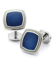 Royal wave square enamel cuff links