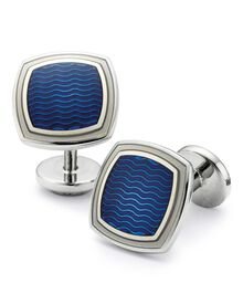 Royal wave square enamel cufflinks