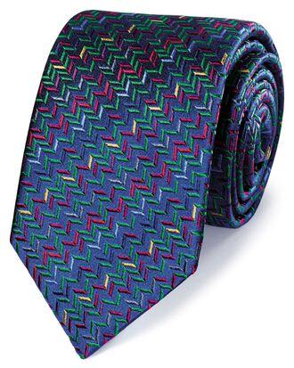 Navy multi silk zig zag English luxury tie