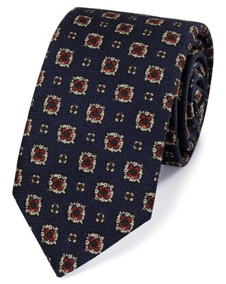 Navy and red wool printed Italian luxury tie