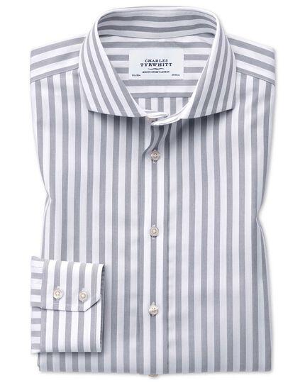 Extra slim fit cutaway non-iron wide stripe grey shirt