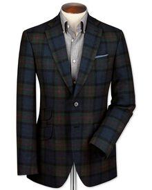 Slim fit blue check luxury border tweed jacket