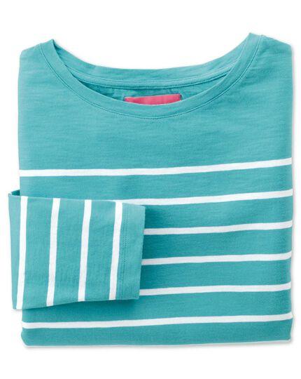 Women's green and white breton stripe boat neck cotton jersey top