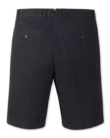 Navy single pleat chino shorts