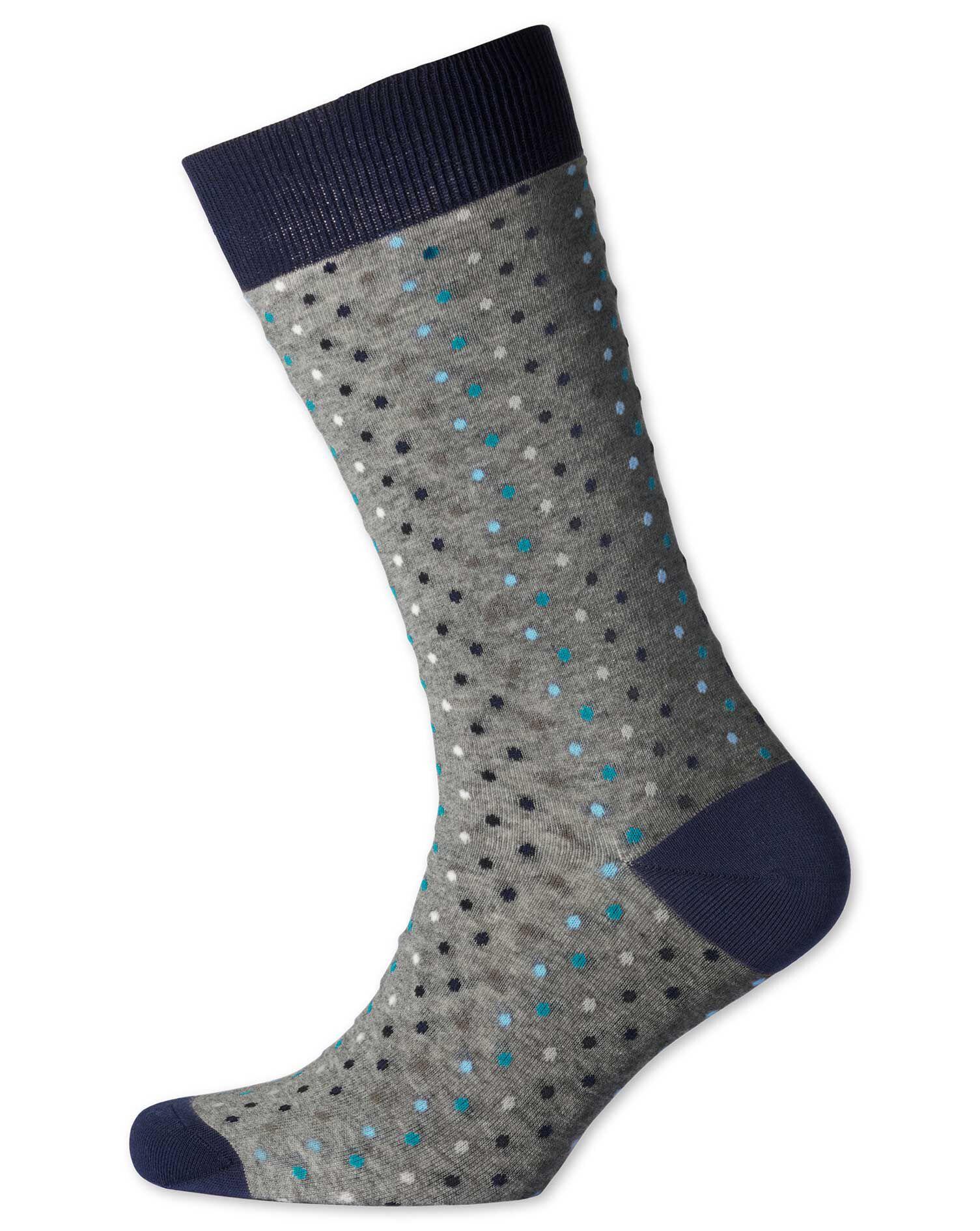 Grey Multi Dot Socks Size Large by Charles Tyrwhitt