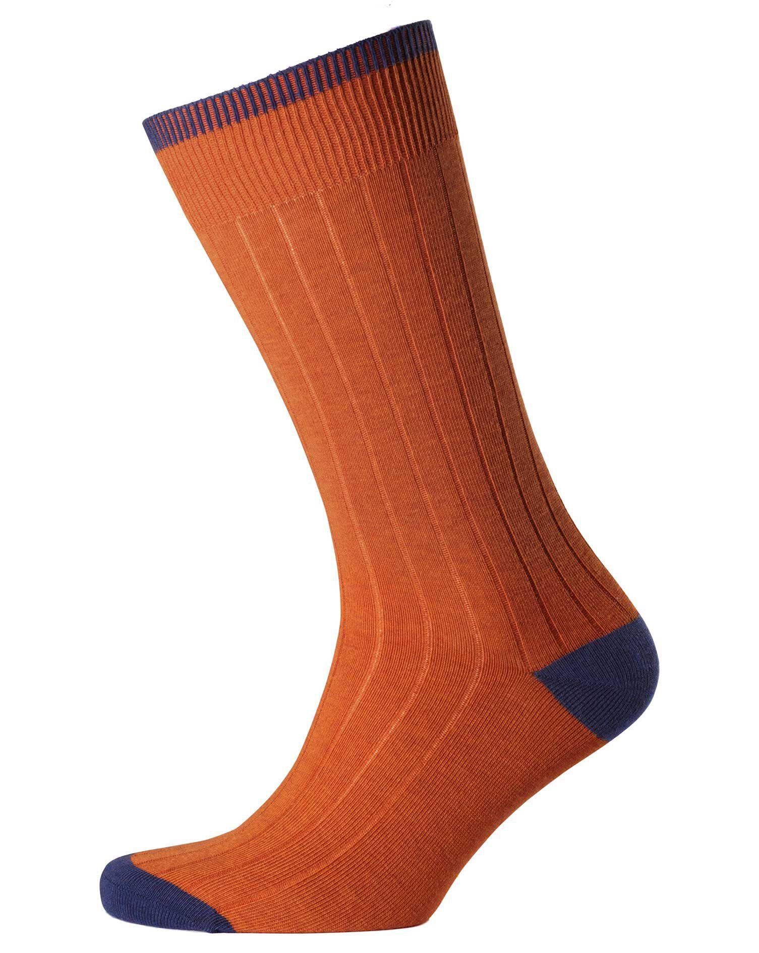 Orange Ribbed Socks Size Large by Charles Tyrwhitt