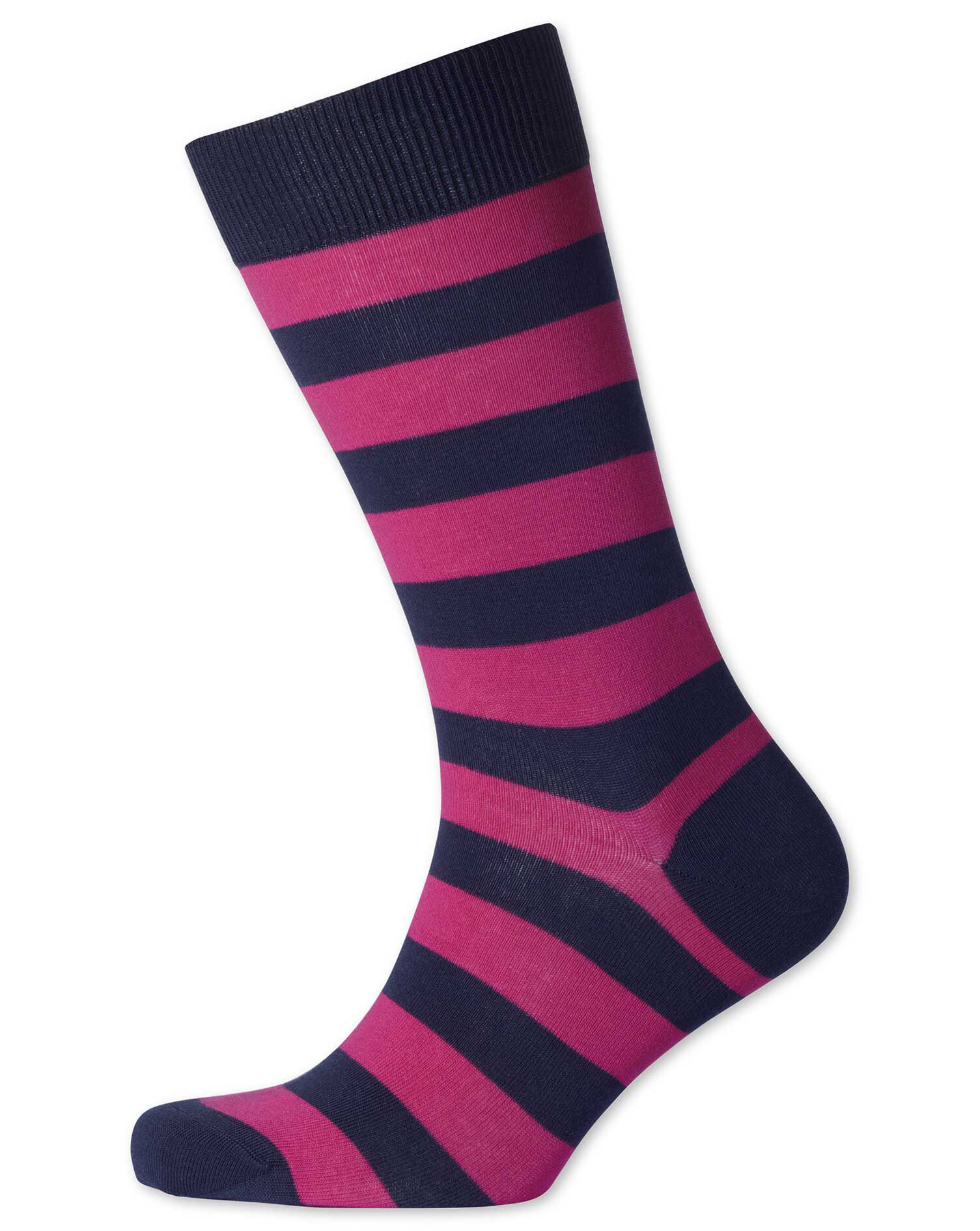 Navy and Pink Wide Stripe Socks Size Medium by Charles Tyrwhitt