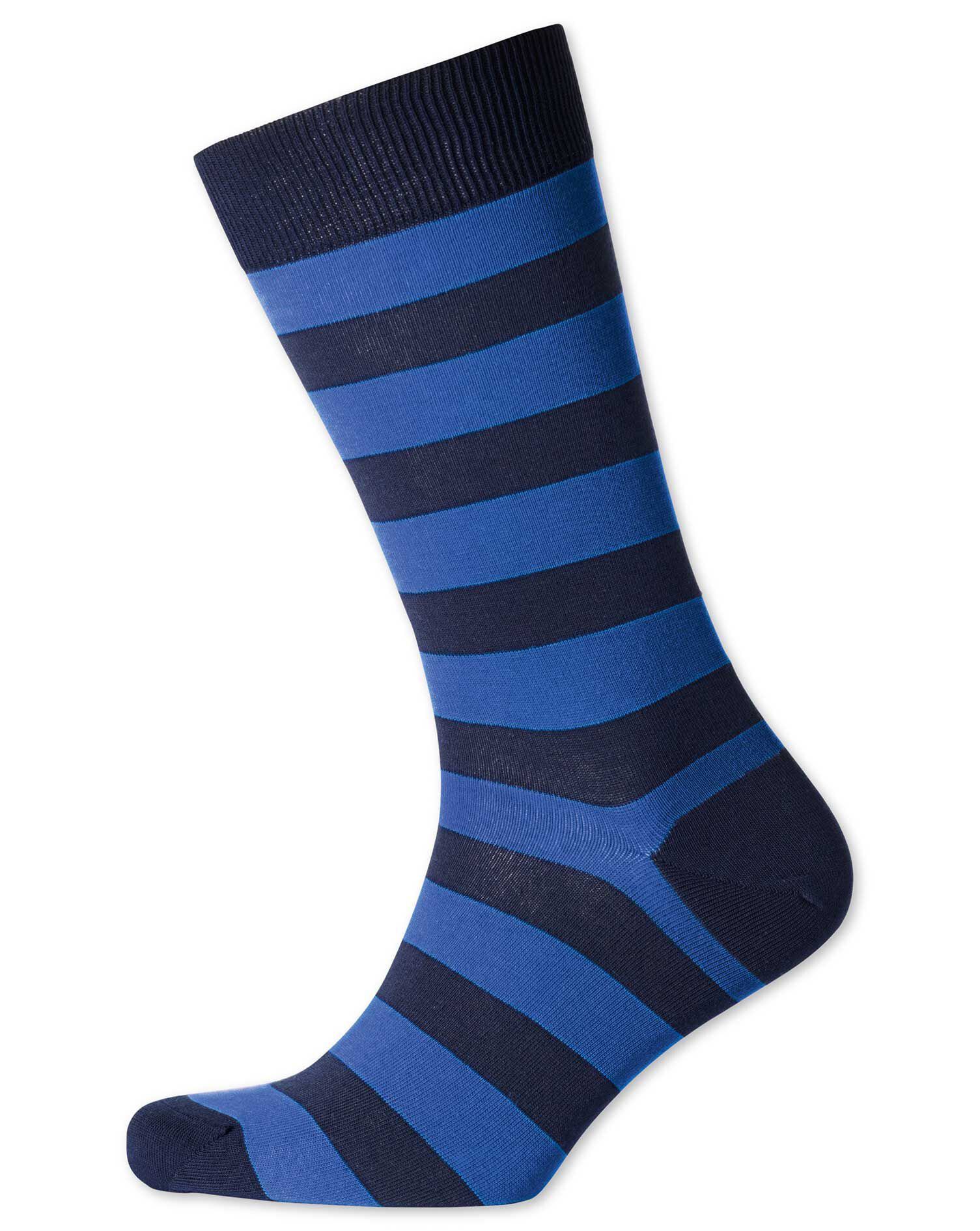 Navy and Royal Wide Stripe Socks Size Medium by Charles Tyrwhitt