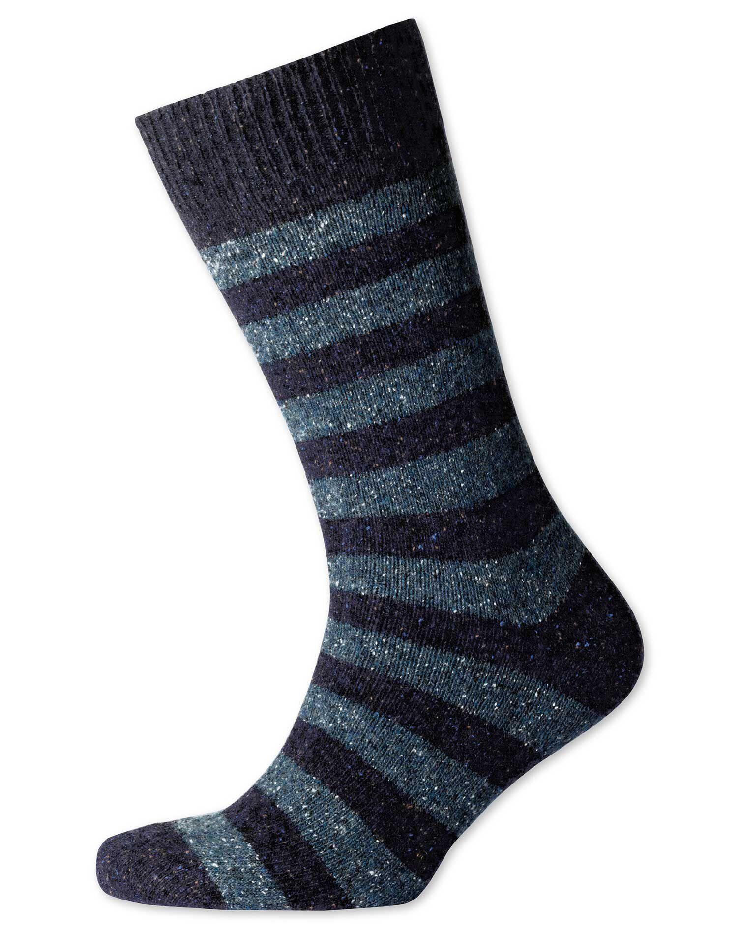 Navy and Sky Stripe Chunky Socks Size Medium by Charles Tyrwhitt