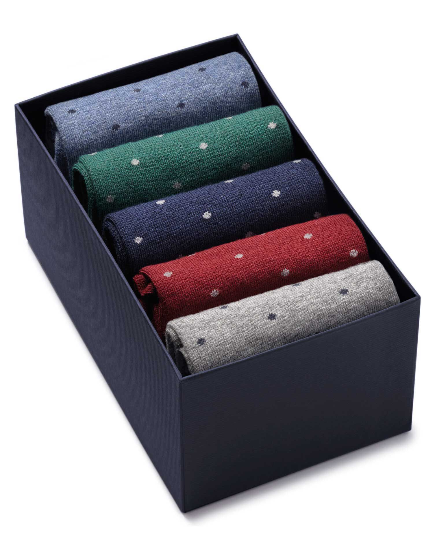 Multi Dot Sock Gift Box Size Medium by Charles Tyrwhitt