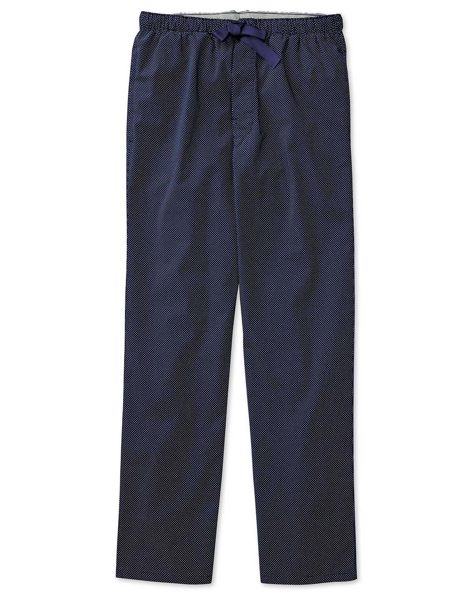 Navy Dot Brushed Cotton Pyjama Trousers Size Medium by Charles Tyrwhitt