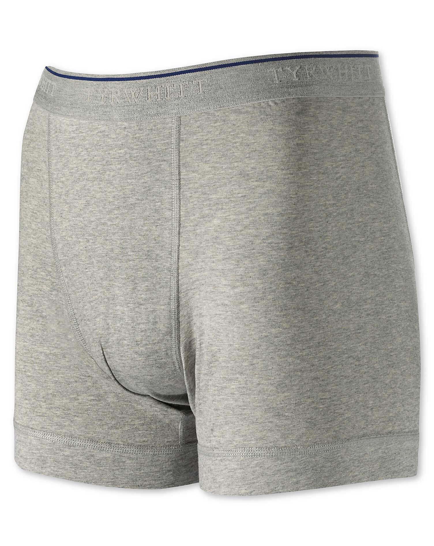 Grey Cotton Stretch Jersey Trunks Size Small by Charles Tyrwhitt