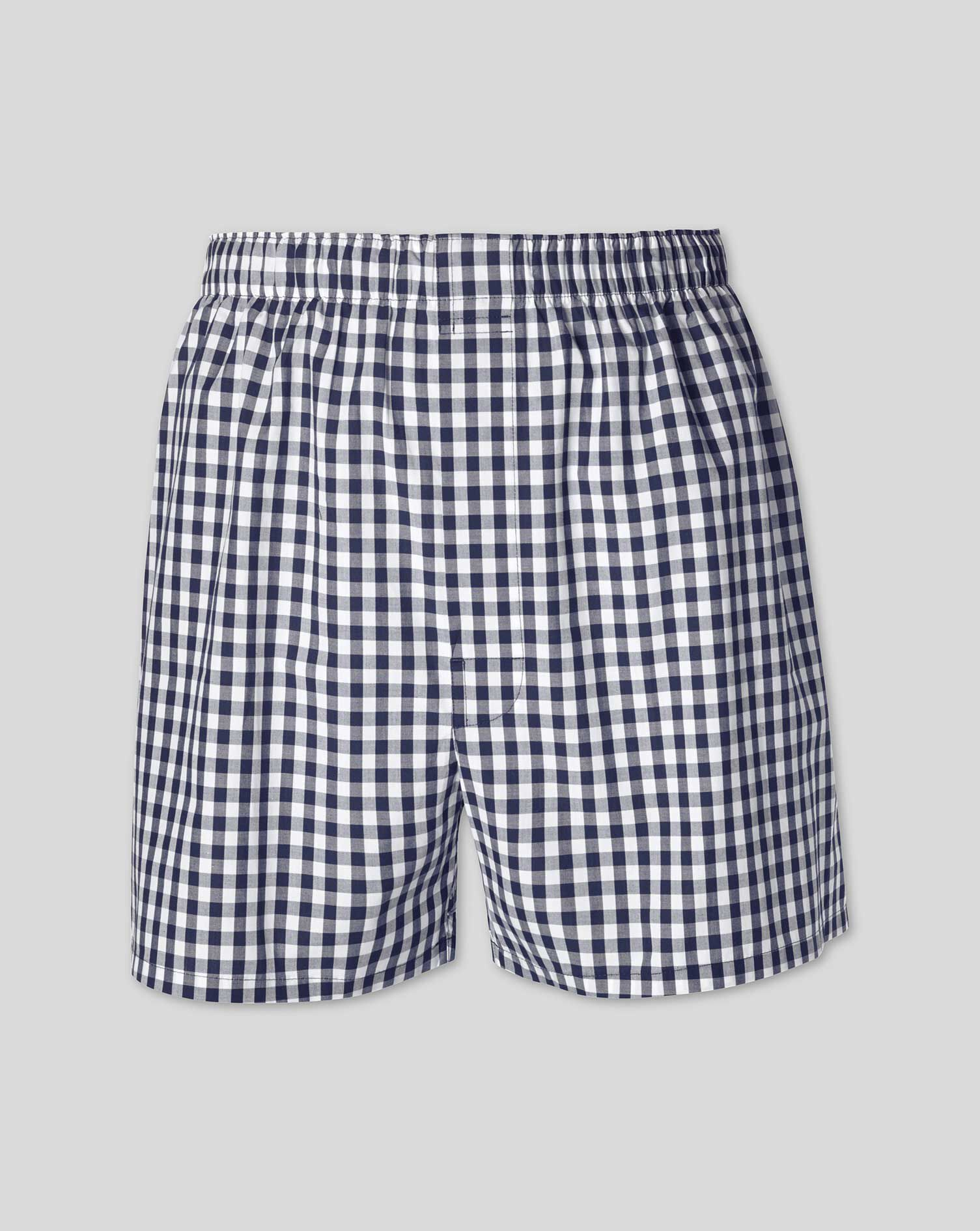 Navy Gingham Woven Boxers Size XXL by Charles Tyrwhitt