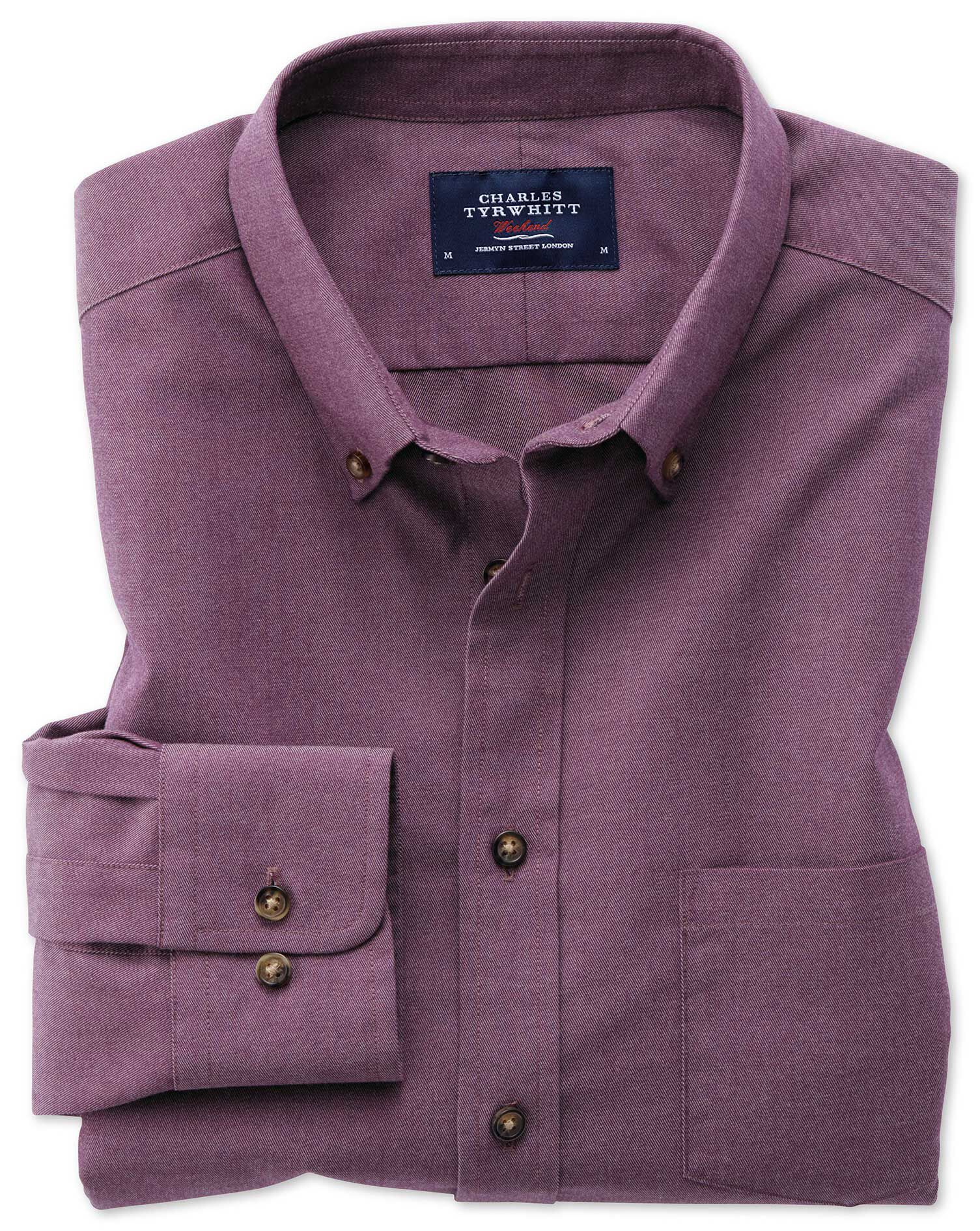 Classic Fit Button-Down Non-Iron Twill Purple Cotton Shirt Single Cuff Size XL by Charles Tyrwhitt