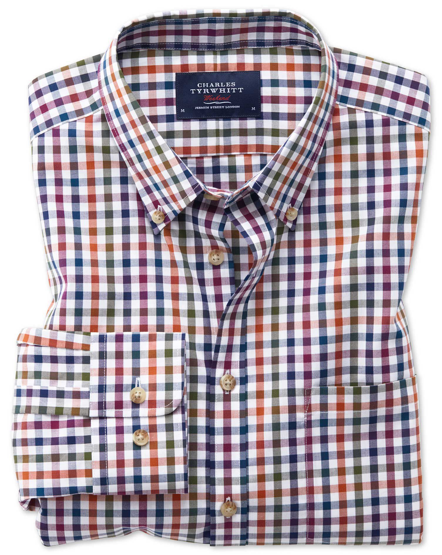 Classic Fit Button-Down Non-Iron Poplin Berry Multi Gingham Cotton Shirt Single Cuff Size XL by Char