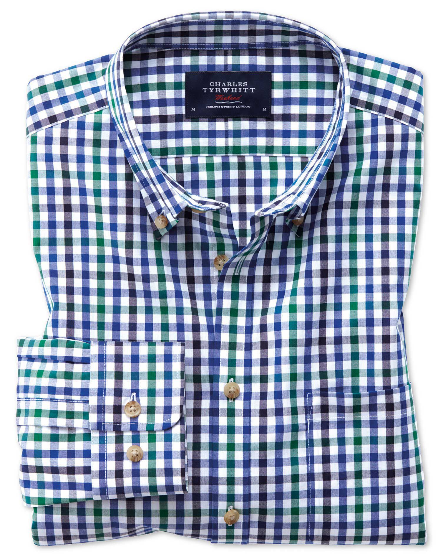 Slim Fit Button-Down Non-Iron Poplin Blue and Green Gingham Cotton Shirt Single Cuff Size Medium by