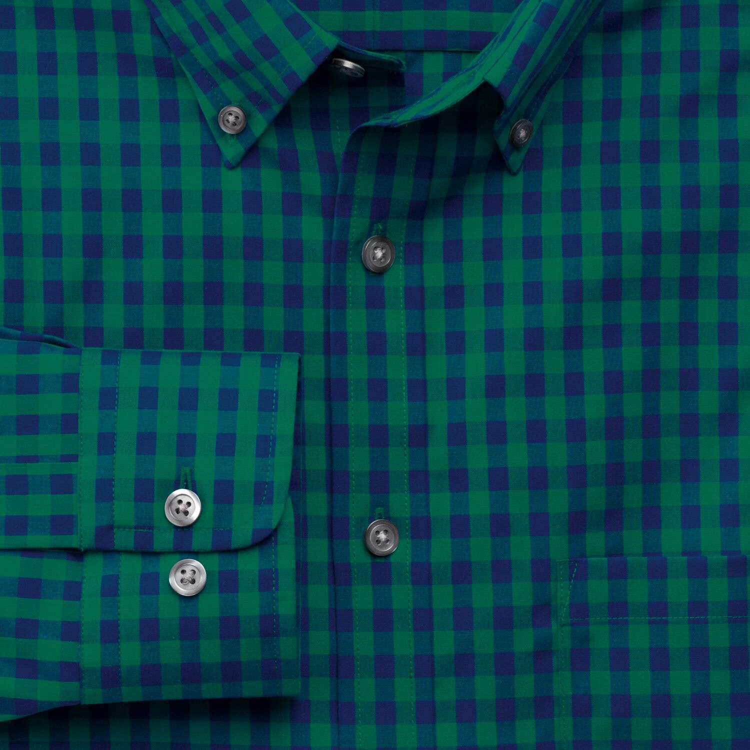 Slim Fit Non-Iron Poplin Green and Navy Gingham Cotton Shirt Single Cuff Size XS by Charles Tyrwhitt
