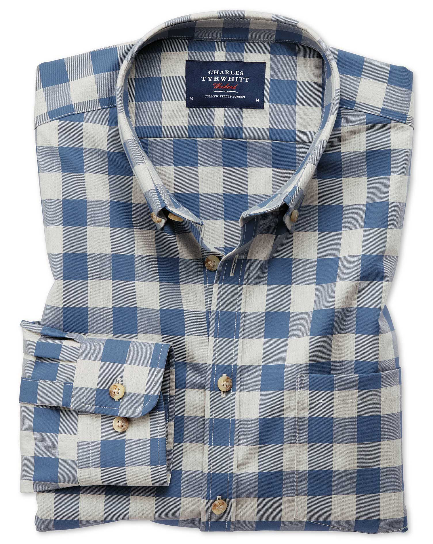 Extra Slim Fit Button-Down Non-Iron Twill Blue and Grey Check Cotton Shirt Single Cuff Size Large by