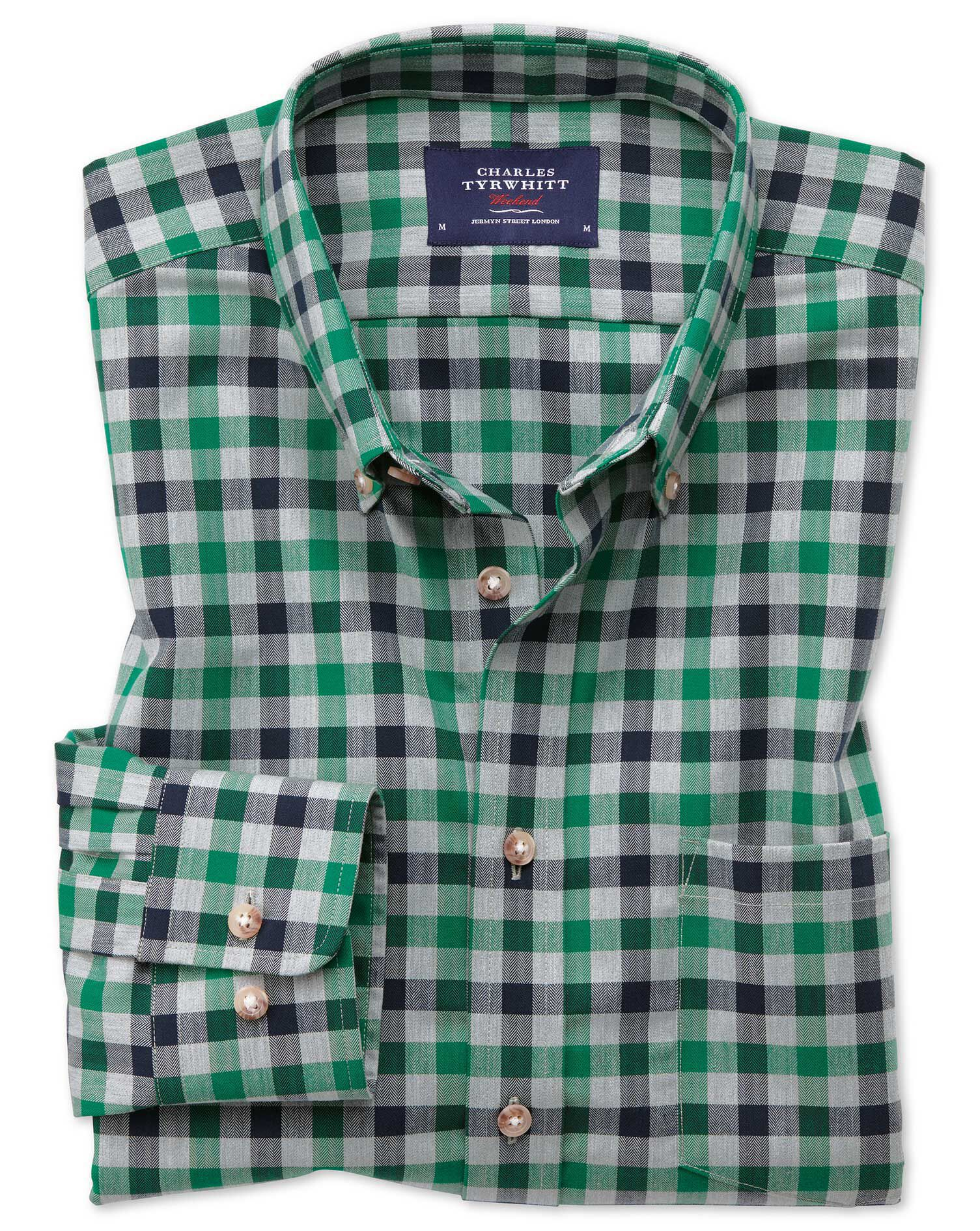 Extra Slim Fit Button-Down Non-Iron Twill Green and Navy Blue Gingham Cotton Shirt Single Cuff Size