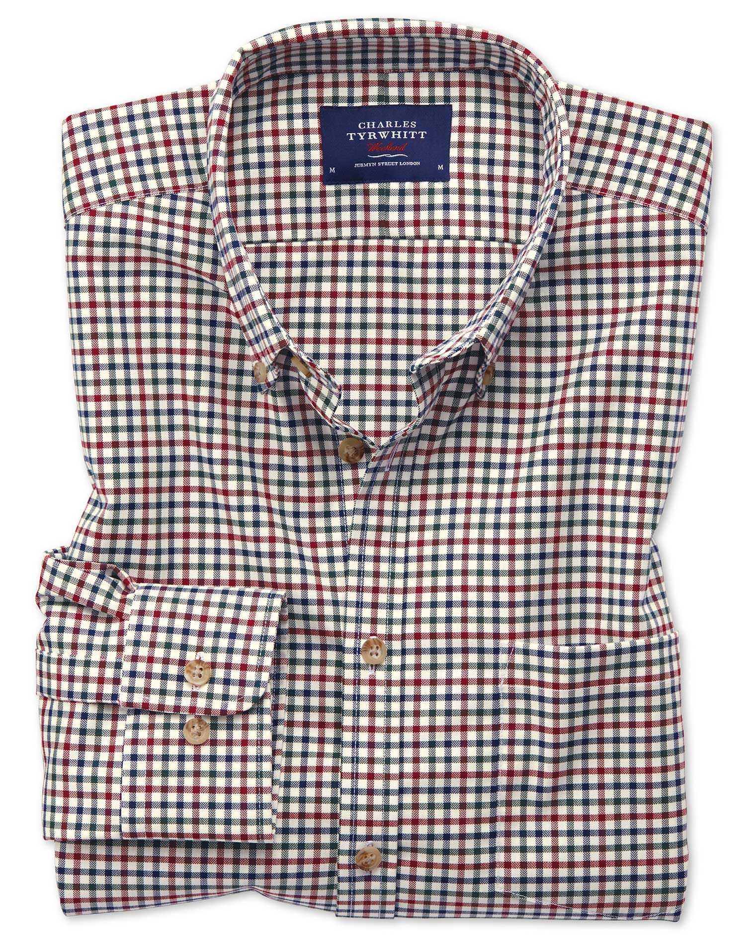 Extra Slim Fit Button-Down Non-Iron Twill Multi Gingham Cotton Shirt Single Cuff Size Large by Charl