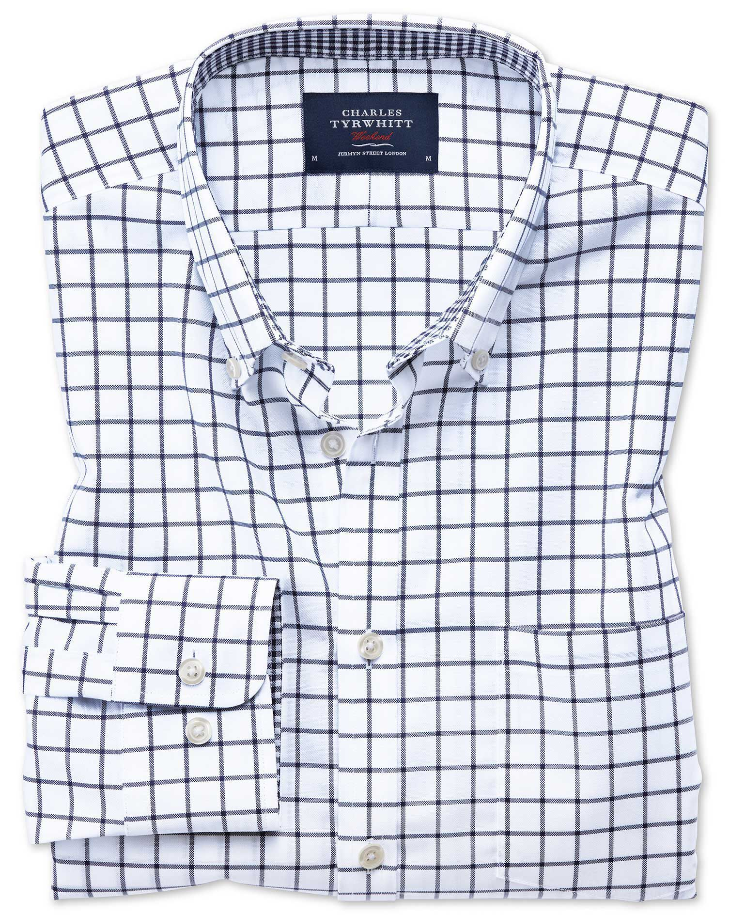 Classic Fit Button-Down Non-Iron Oxford Navy Windowpane Check Cotton Shirt Single Cuff Size Large by