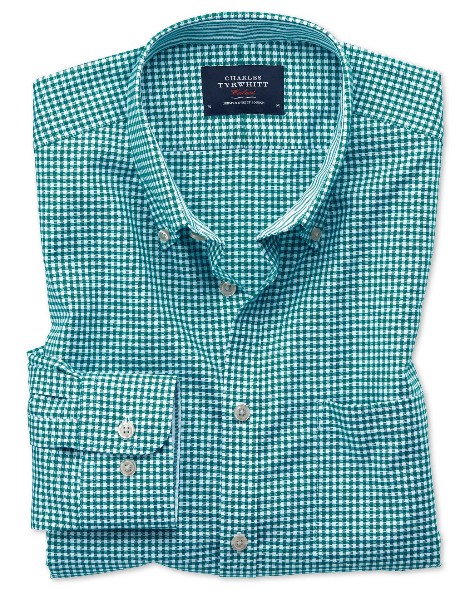 Slim Fit Button-Down Non-Iron Oxford Gingham Green Cotton Shirt Single Cuff Size Large by Charles Ty