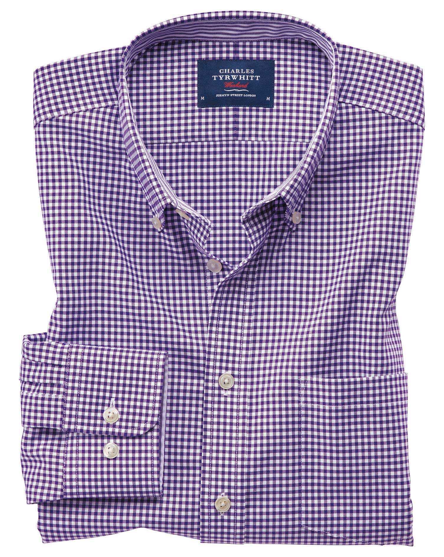 Slim Fit Button-Down Non-Iron Oxford Gingham Purple Cotton Shirt Single Cuff Size XS by Charles Tyrw