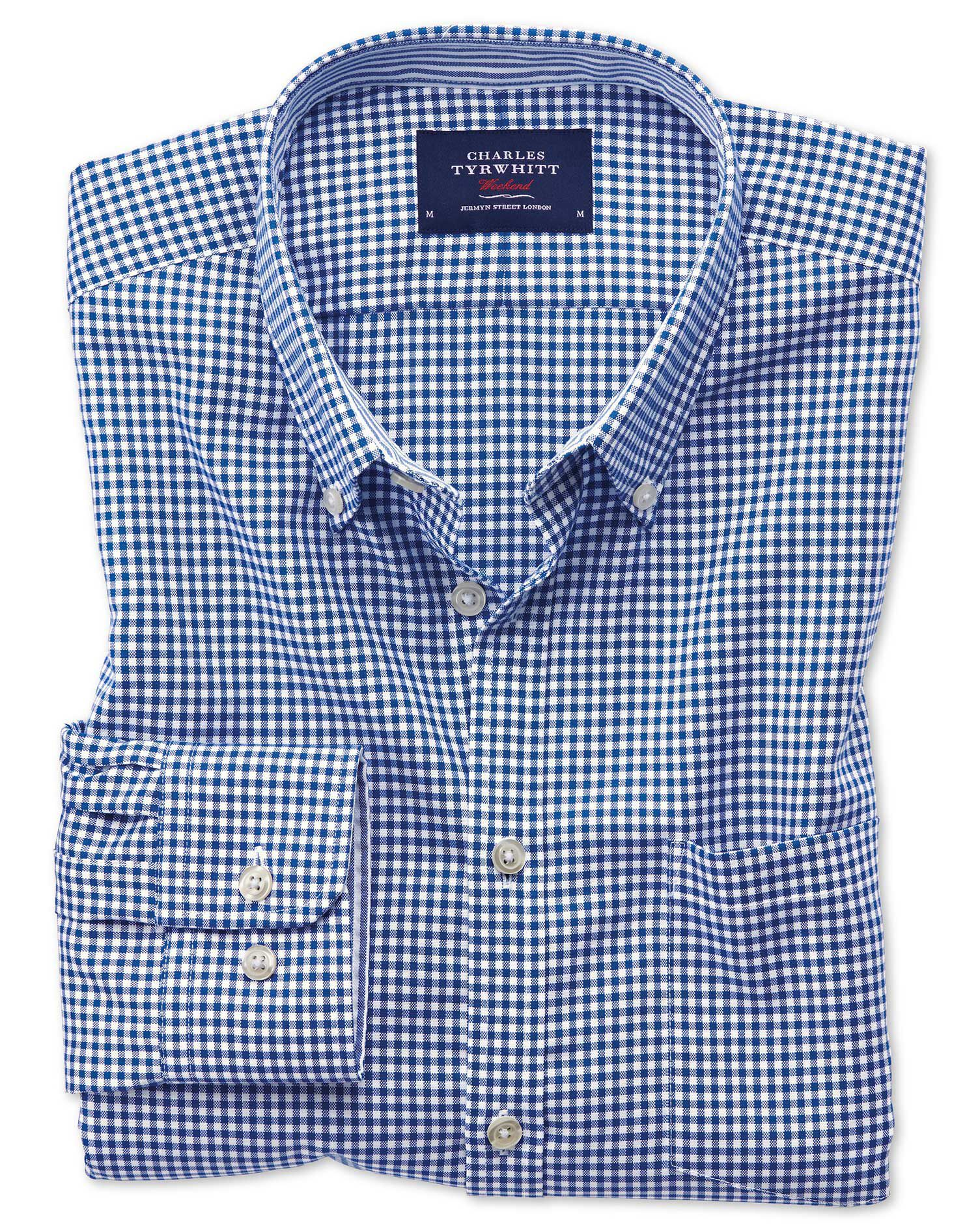 Slim Fit Button-Down Non-Iron Oxford Gingham Royal Blue Cotton Shirt Single Cuff Size Small by Charl