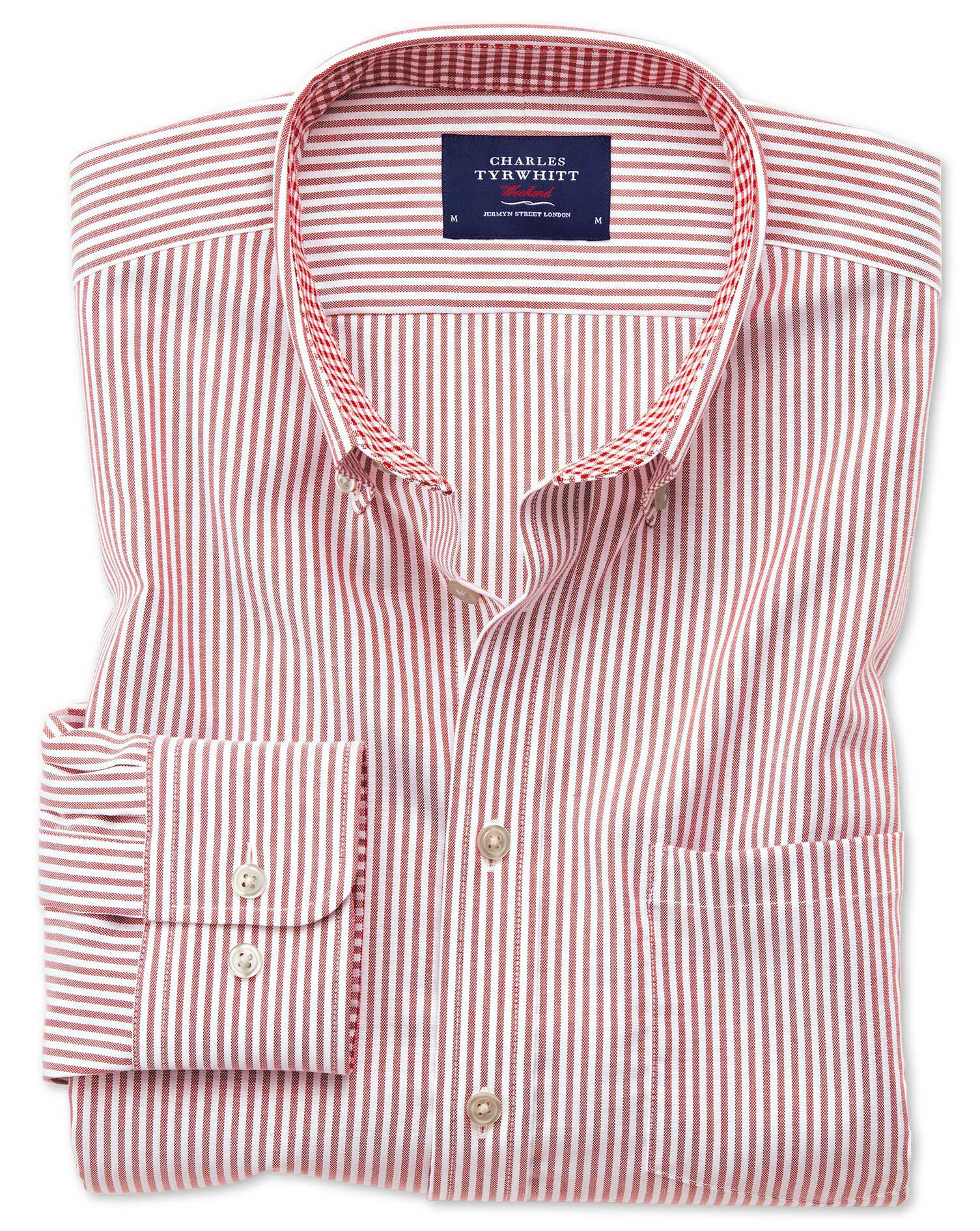 Slim Fit Button-Down Non-Iron Oxford Bengal Stripe Rust Cotton Shirt Single Cuff Size Large by Charl