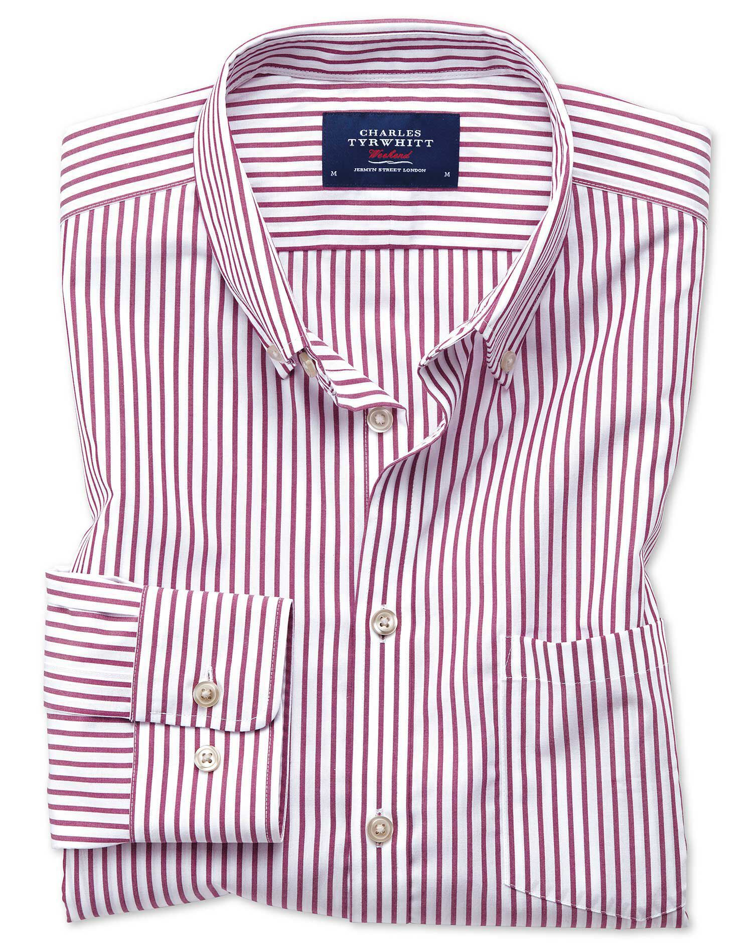 Classic Fit Button-Down Non-Iron Poplin Berry Stripe Cotton Shirt Single Cuff Size Large by Charles