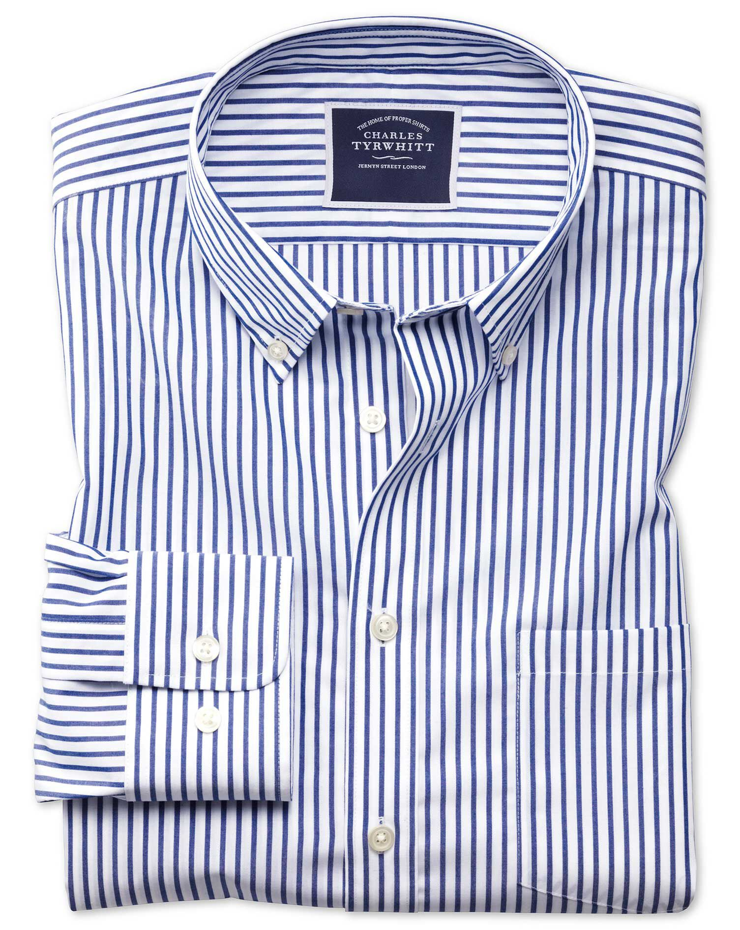 Slim Fit Button-Down Non-Iron Poplin Blue Stripe Cotton Shirt Single Cuff Size XS by Charles Tyrwhit