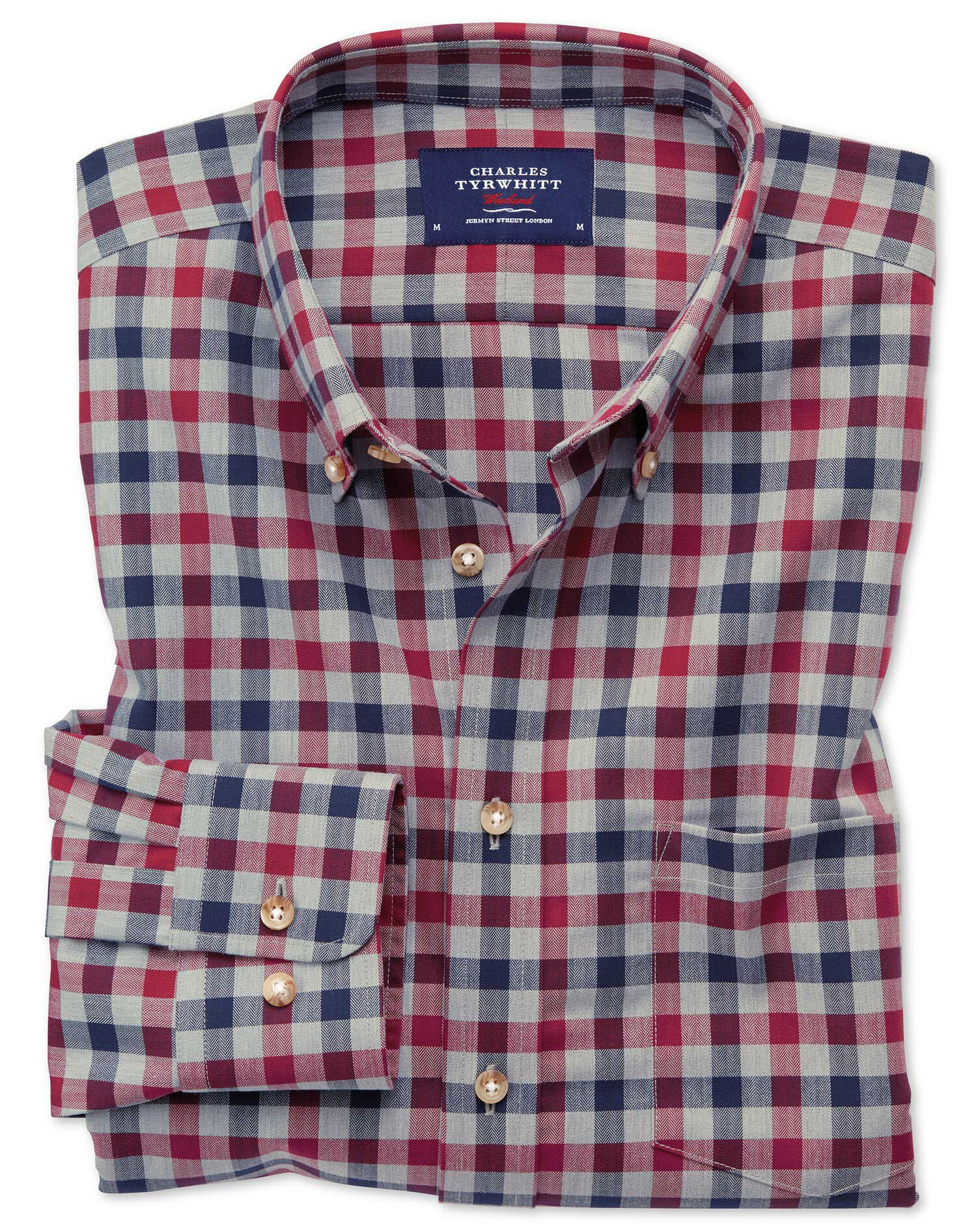 Slim Fit Button-Down Non-Iron Twill Red and Navy Gingham Cotton Shirt Single Cuff Size XS by Charles