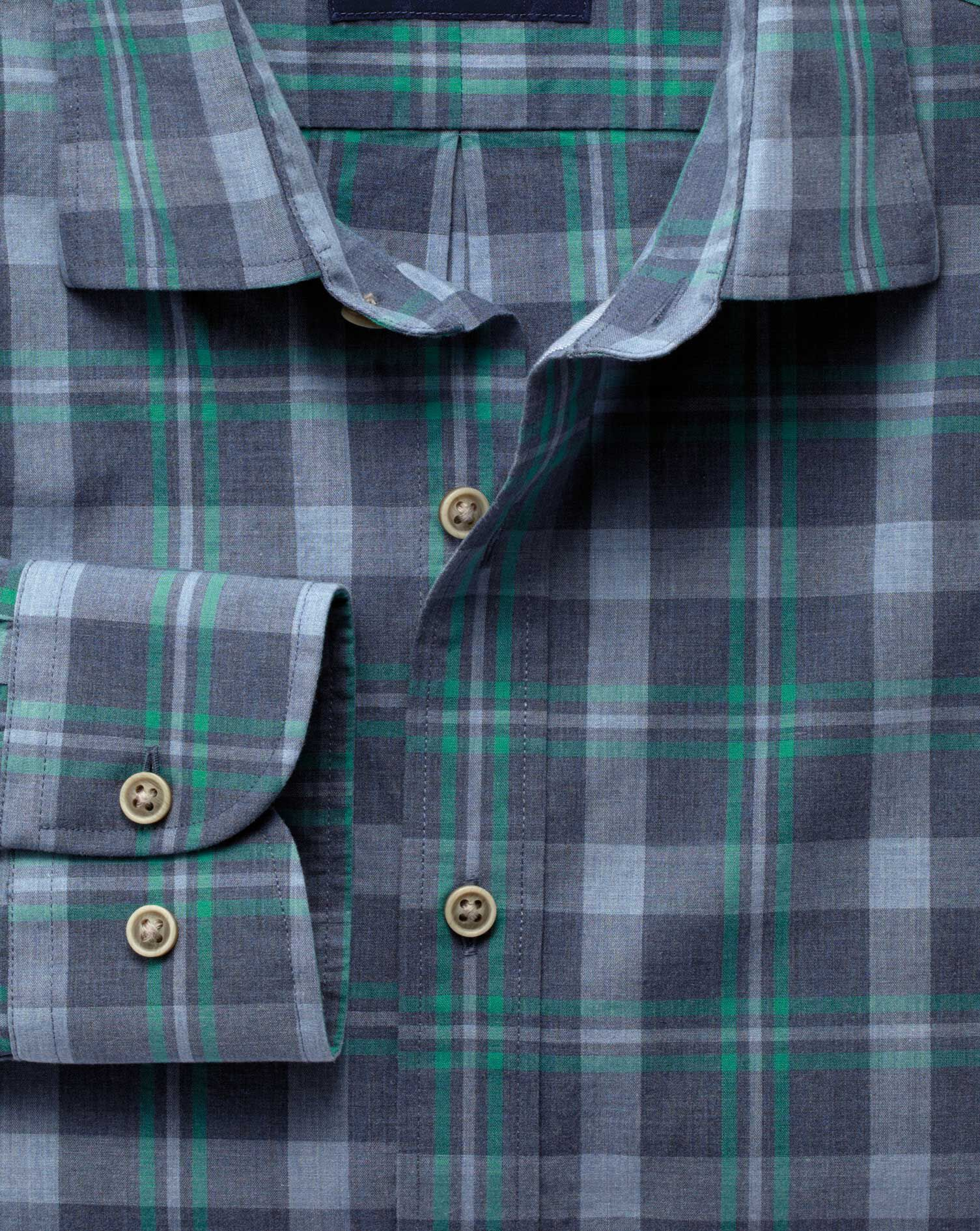 Slim Fit Blue and Green Check Heather Cotton Shirt Single Cuff Size XS by Charles Tyrwhitt