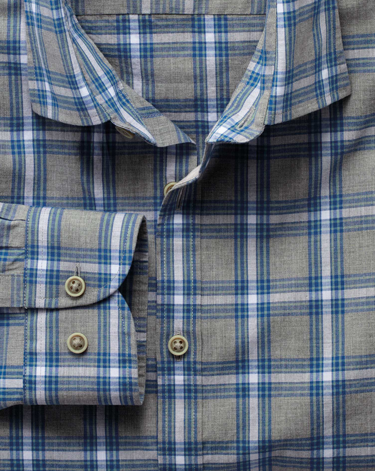 Slim Fit Grey and Sky Blue Check Heather Cotton Shirt Single Cuff Size XS by Charles Tyrwhitt
