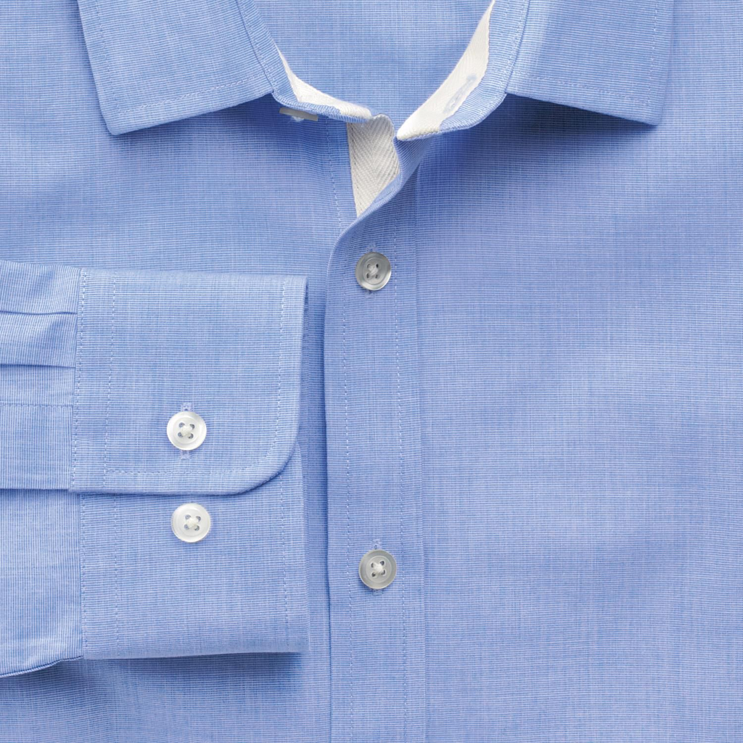 Extra Slim Fit Sky Blue End-On-End Cotton Shirt Single Cuff Size Large by Charles Tyrwhitt